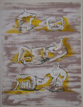 Litografia Moore - Three reclining figures