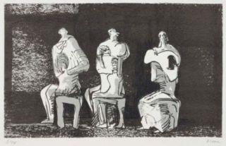 Litografia Moore - Three Seated Figures In Setting