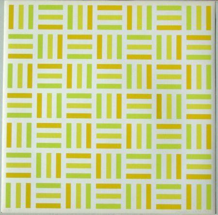 Serigrafia Morellet - Tirets jaunes,jaunes-verts,jaunes orange