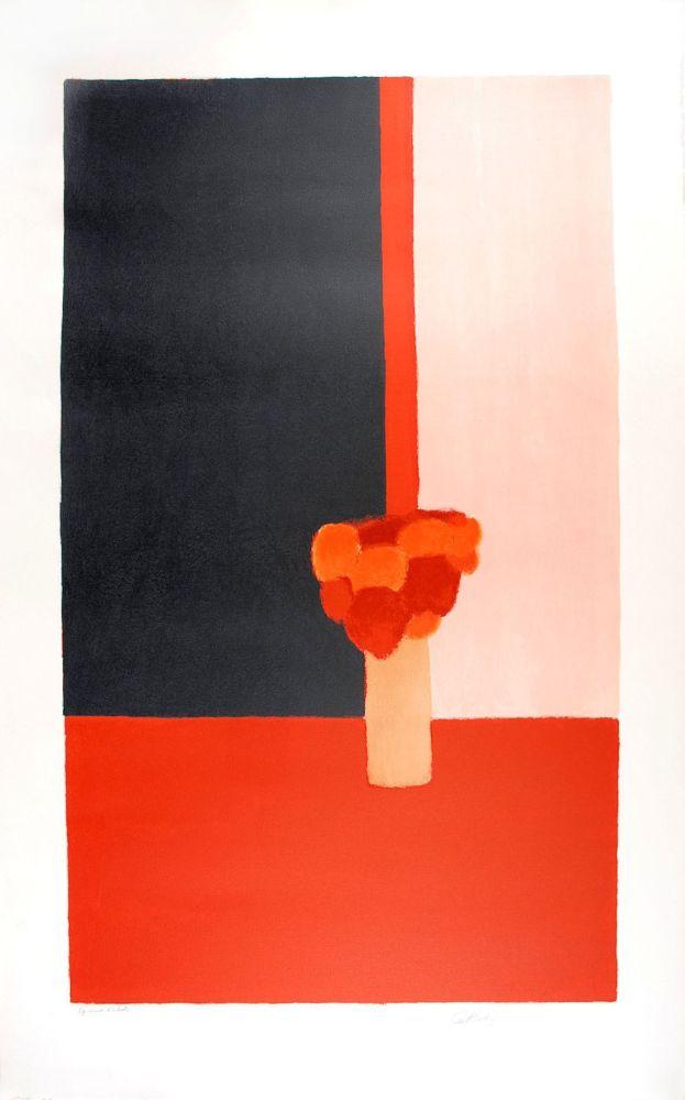 Litografia Cathelin - Tokonoma rouge et noir - Red and black Tokonoma
