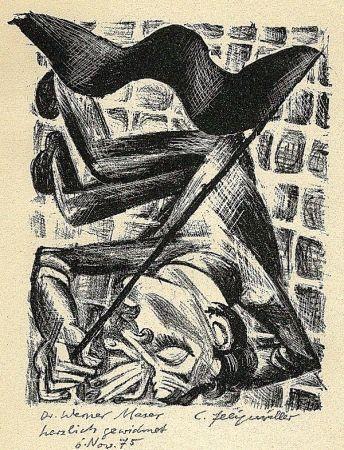 Litografia Felixmuller  - Toter Genosse