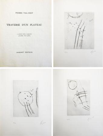 Libro Illustrato Tal Coat - TRAVERSE D'UN PLATEAU. 7 pointes sèches originales signées (1963).