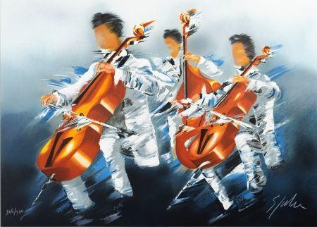 Litografia Spahn - Trio de Violoncelles