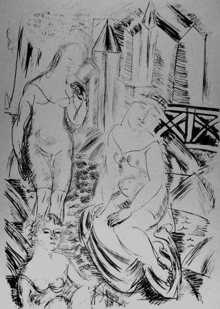 Litografia Dufy - Trois baigneuses devant le port de Sainte-Adresse