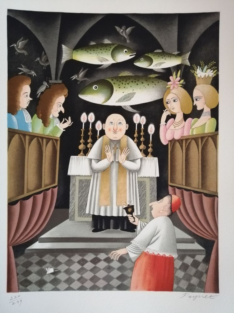 Litografia Peynet - Trois Messes basses