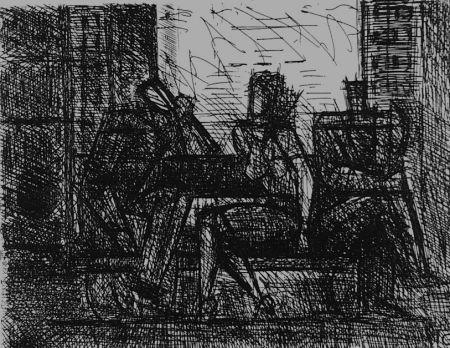 Acquaforte Gromaire - Trois personnages sur un banc