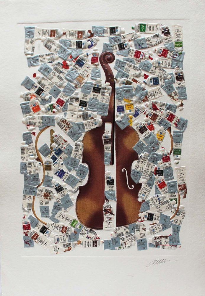 Incisione Arman - Tubes et violin