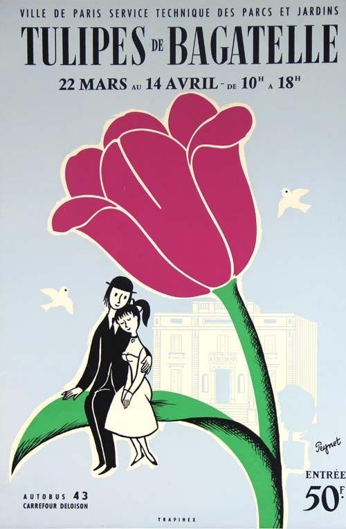 Litografia Peynet - Tulipes de Bagatelle