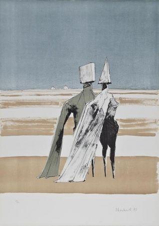 Litografia Chadwick - Two figures in a landscape