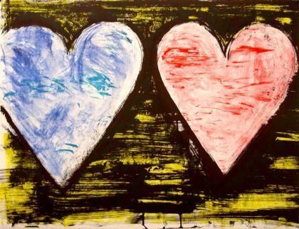Litografia Dine - Two Hearts At Sunset