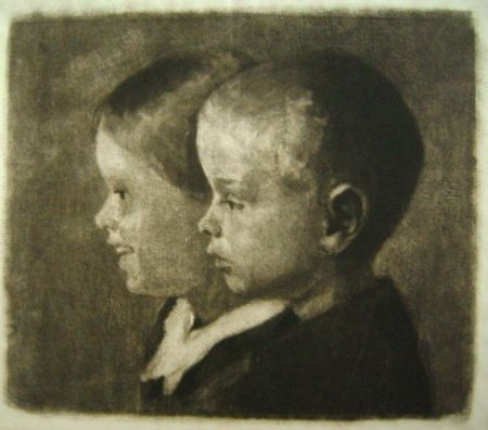 Maniera Nera Ilsted - Two of the children of the artist
