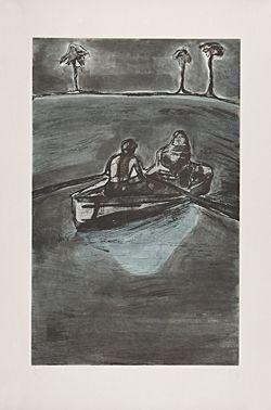 Acquaforte Doig - Two People at Night (indigo)