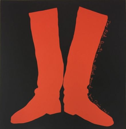 Multiplo Dine - Two Red Boots on a Black Ground,
