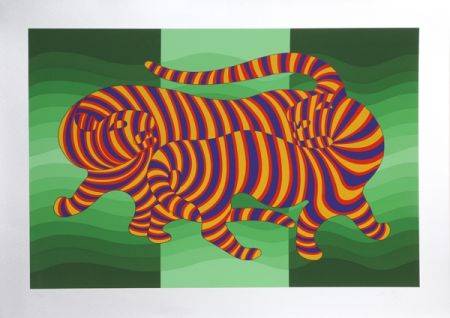 Serigrafia Vasarely - Two Tigers on Green