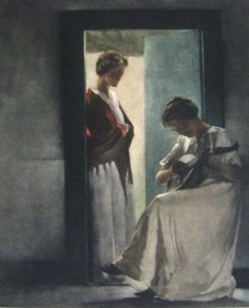 Maniera Nera Ilsted - Two young women in a doorway