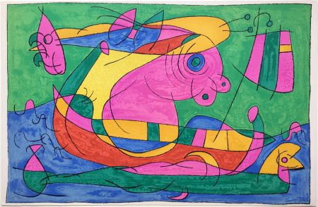 Litografia Miró - UBU ROI : LE VOYAGE DE RETOUR (1966).