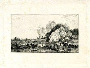 Incisione Corot - Un gué