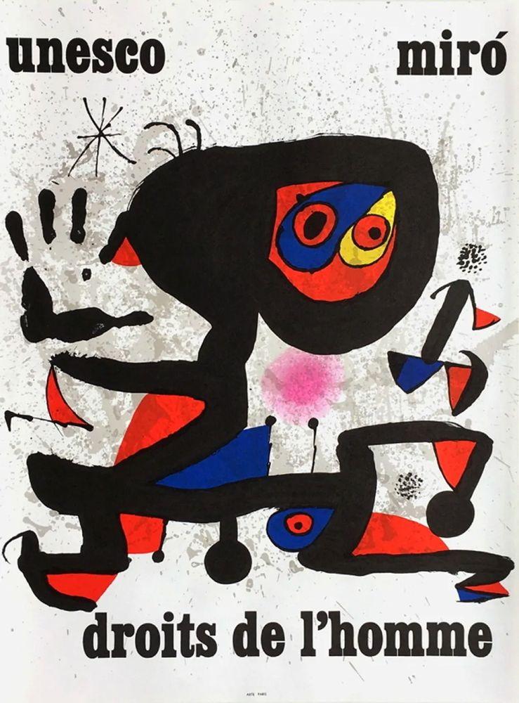 Manifesti Miró - UNESCO - DROITS DE L'HOMME -MIRO. Affiche originale de 1974.
