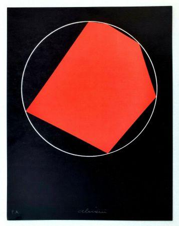 Litografia Alviani - Unoduetrequattrocinquesei poligono inscritto nel cerchio