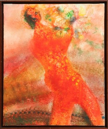 Litografia Ripolles - Untitled - Figure with Flowers