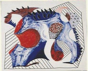 Litografia Hockney - Untitled for Joel Wachs