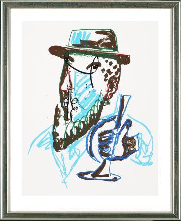 Serigrafia Lüpertz - Untitled, Mann mit blauer Trompeter