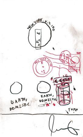 Non Tecnico Basquiat - Untitled Original Crayon Drawing On Paper,