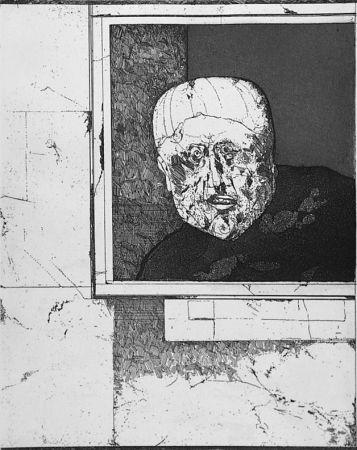 Acquaforte Plattner - Uomo alla finestra
