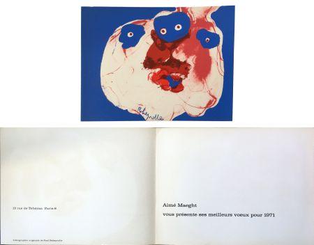 Litografia Rebeyrolle - Vœux d'Aimé Maeght pour 1971 : LITHOGRAPHIE ORIGINALE DE REBEYROLLE