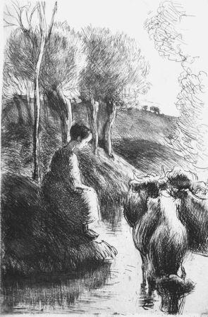 Acquaforte Pissarro - Vachère au bord de l'eau