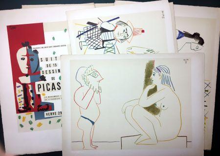 Litografia Picasso - Vallauris, Suite De 180 (15) Dessins De Picasso. Rarissime Suite Complète Sur Vélin D'arches.