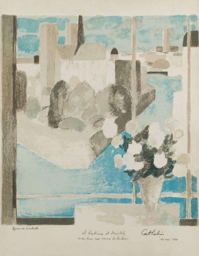 Litografia Cathelin - Vase à la fenêtre