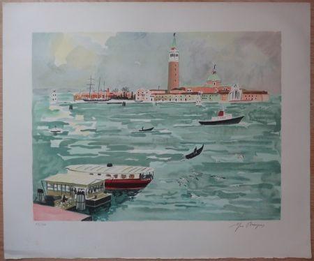 Litografia Brayer - Venise vue de la mer