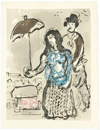 Incisione Su Legno Chagall - VERS LA RIVE (