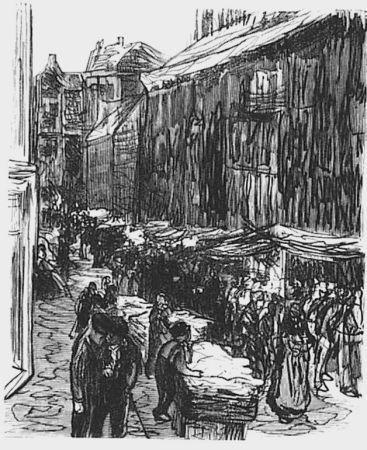 Incisione Su Legno Liebermann - Via del ghetto ad Amsterdam