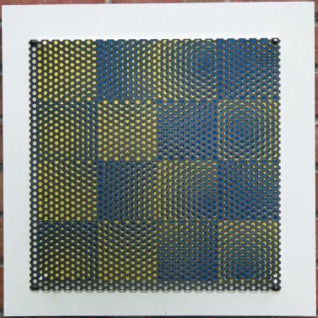 Incisione Su Legno Asis - Vibration 16 carres bleu et jaune