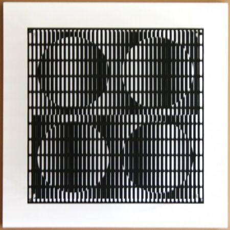 Incisione Su Legno Asis - Vibration 4 cercles noir et blanc