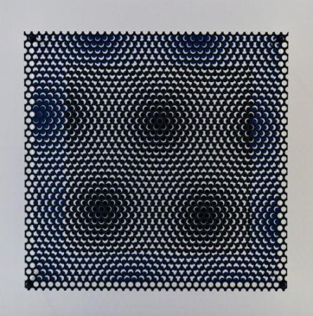 Incisione Su Legno Asis - Vibration carré noir et bleu