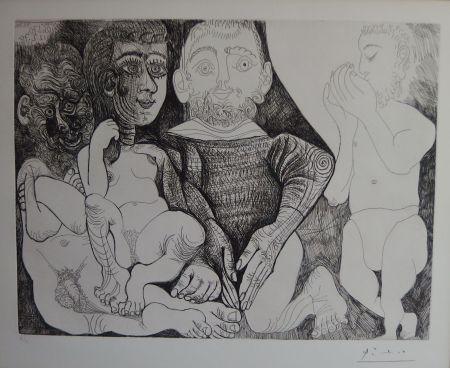 Incisione Picasso - Vieil Homme Concupiscent Et Impuissant Avec Une Prostituée Espagnole