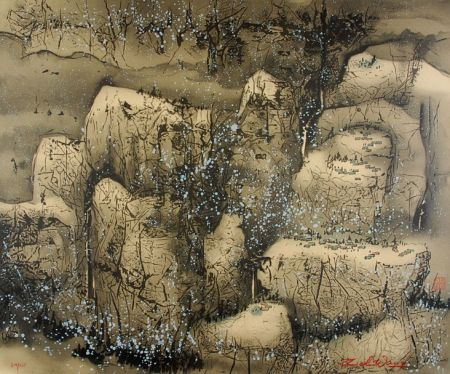 Litografia Wang - Villages in the Snow