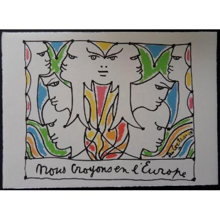 Litografia Cocteau - Visages l'Europe