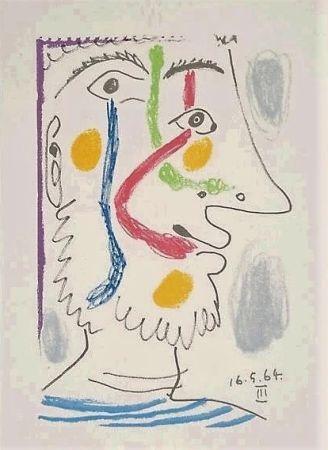 Litografia Picasso - Viso colorato