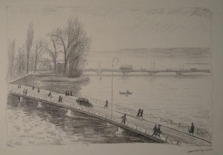 Acquaforte Marquet - Vue de deux Ponts (L'île Rousseau, Genève).