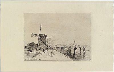Incisione Jongkind - Vue de la ville de Maassluis, in Eaux-fortes modernes publiées par la Société des Aqua-fortistes.