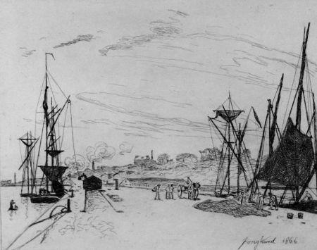Acquaforte Jongkind - Vue du port au chemin de fer a Honfleur