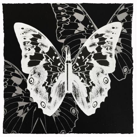 Serigrafia Robierb - White Butterfly on Black