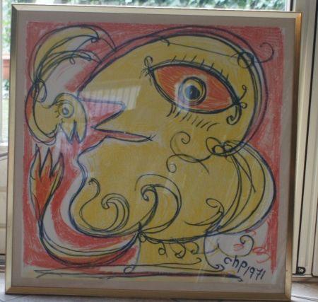 Litografia Pedersen - Woman and bird, reduced price!