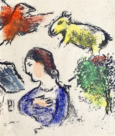 Litografia Chagall - Woman with animals