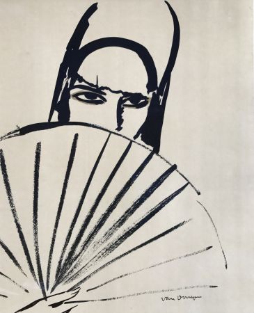Litografia Van Dongen - Woman with fan