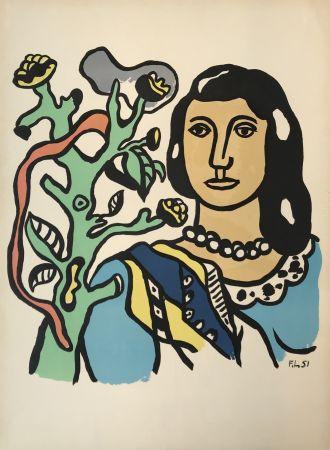 Litografia Leger - Woman with Tree